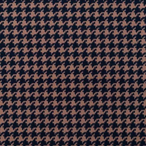 Tissu bengaline motif pied de poule marron et noir
