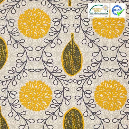 Coton écru motif gambie moutarde