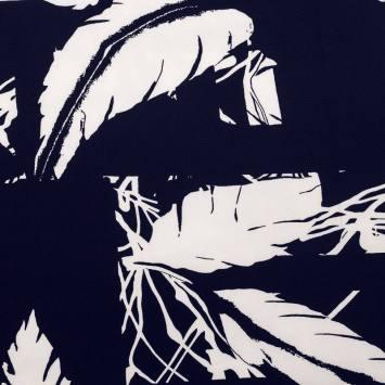 Tissu crêpe bleu à motif feuille