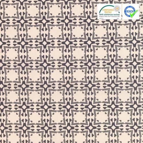 Coton écru motif wolof gris
