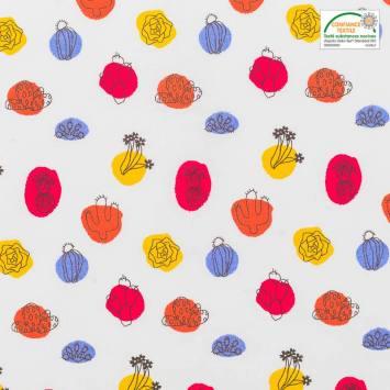 Coton blanc motif arua cactus rouge