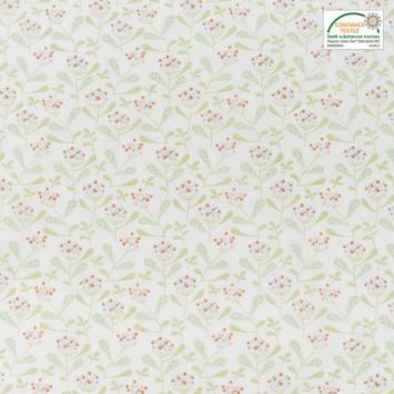Coton blanc motif mahonia vert