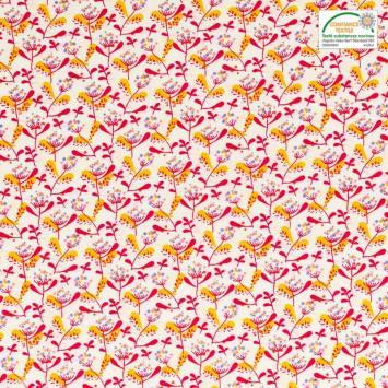 Coton blanc motif mahonia rouge