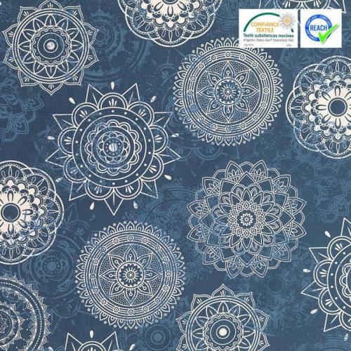 Coton indigo motif marik blanc