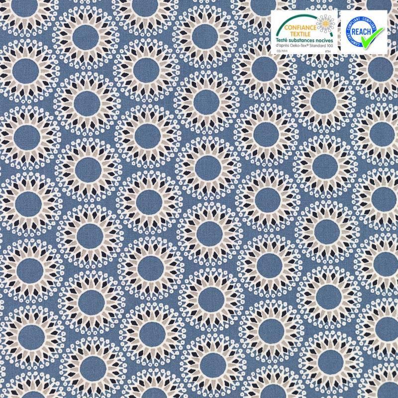 Coton bleu motif malawa blanc