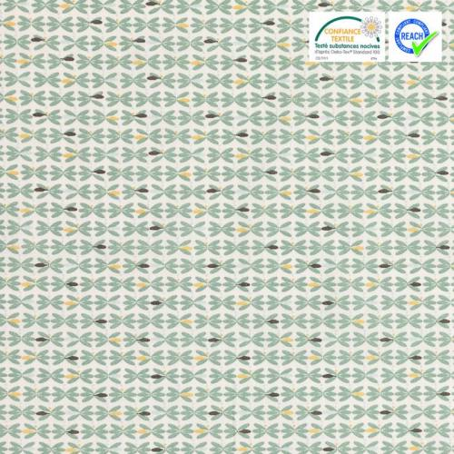 Coton blanc motif bejard vert