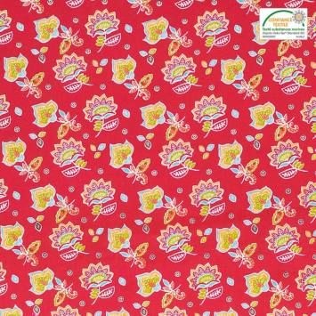 Coton rouge motif fleur de cachemire