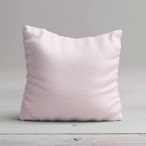 Coton rose motif pois en forme de fleur