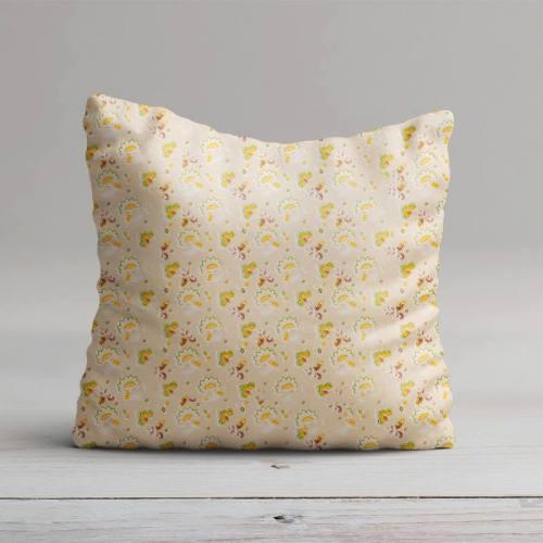 Coton beige motif fleur de cachemire