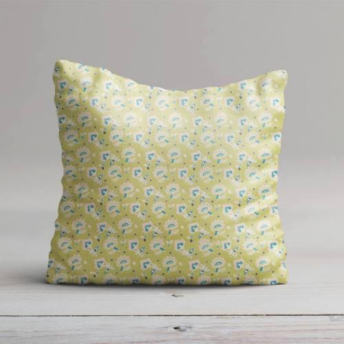 Coton vert motif fleur de cachemire