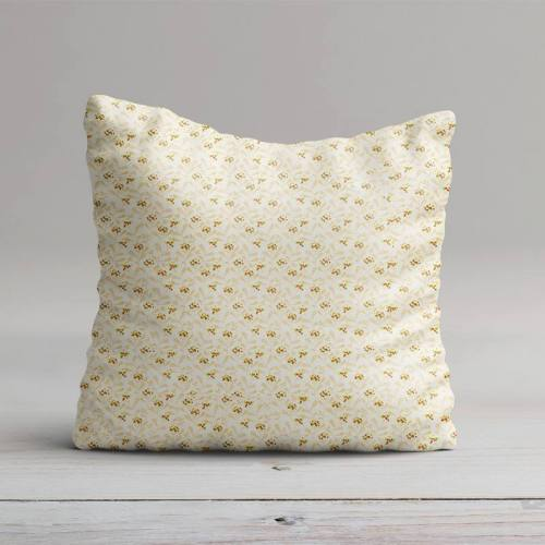 Coton blanc motif mahonia beige