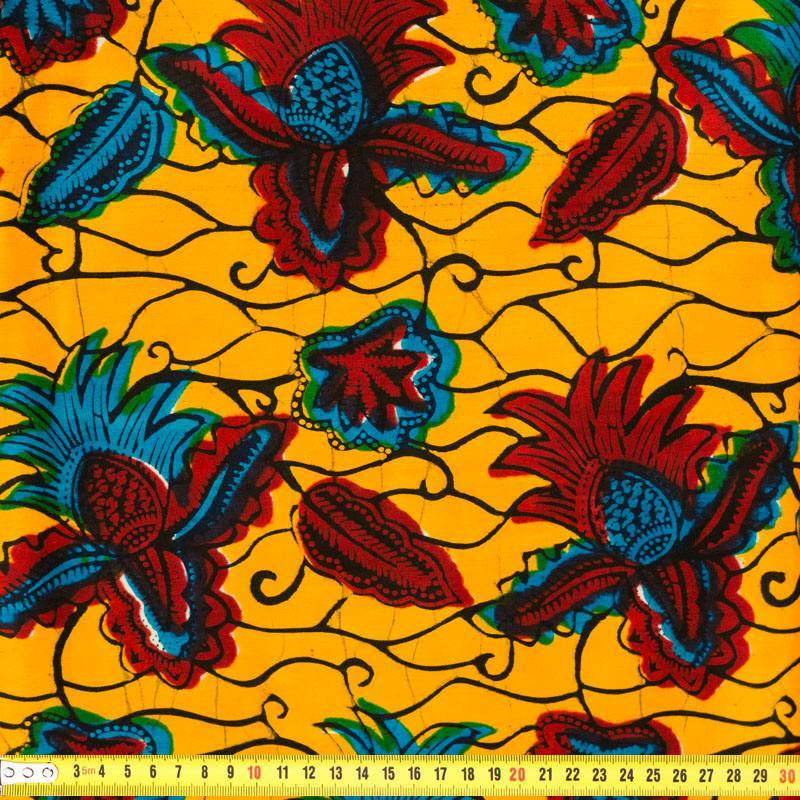 Wax tissu africain jaune rouge et bleu 174 pas cher - Tissus rouge pas cher ...