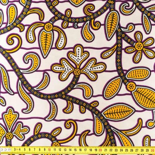 Wax - Tissu africain blanc et jaune 164