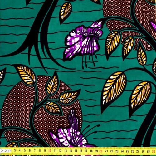 Wax - Tissu africain vert, violet et orange 163