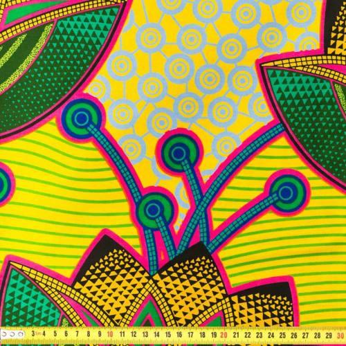 Wax - Tissu africain fleurs multicolores 162