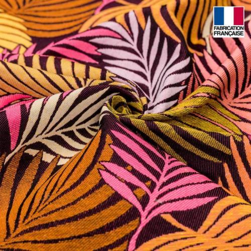 Jacquard imprimé tropical fuchsia