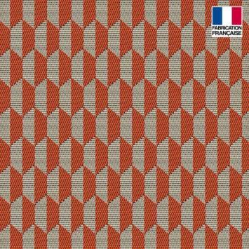 Jacquard orange motif géométrique