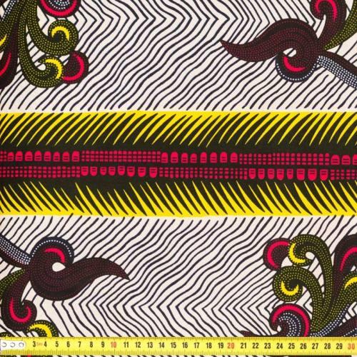 Wax - Tissu africain blanc, noir et jaune 152