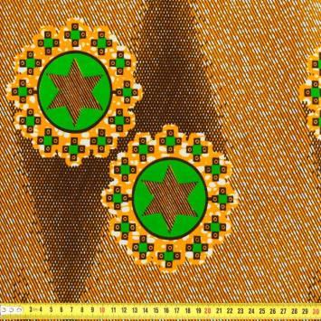Wax - Tissu africain orange, vert et noir
