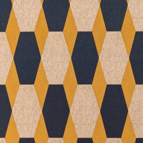 Toile polycoton imprimé hexagone jaune et bleu