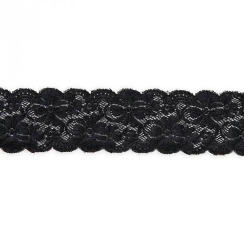Dentelle noire extensible 65mm