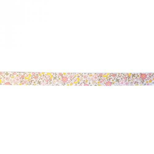 Biais replié à fleurs rose et jaune 20mm
