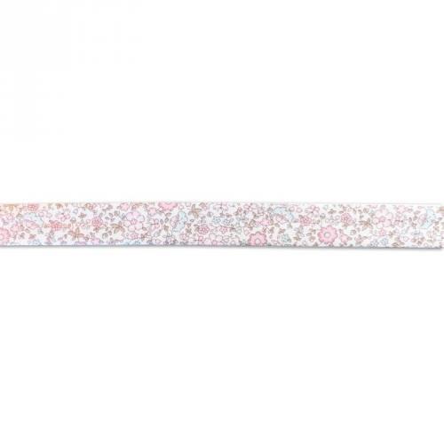 Biais replié à fleurs rose et bleu 20mm