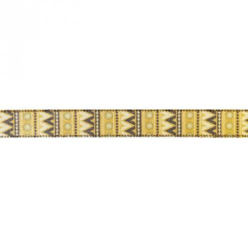 Ruban thermocollant ethnique jaune 25mm