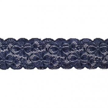Dentelle bleu marine extensible 65mm