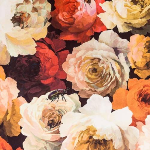Velours imprimé fleurs oranges diva