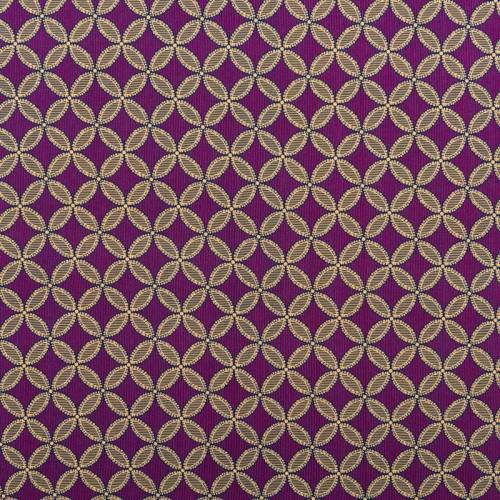 Tissu viscose violet motif rosace jaune