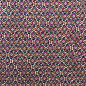 Tissu viscose multicolore motif géométrique
