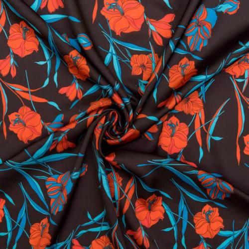 Satin noir imprimé fleur rouge et bleue