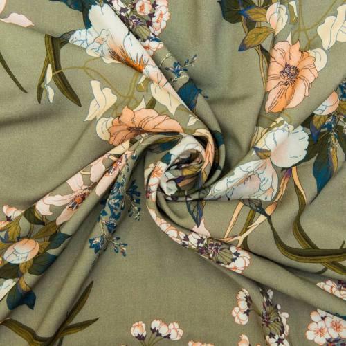 Tissu viscose motif jardin japonais