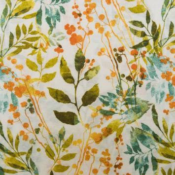 Toile polycoton grande largeur motif végétal Camile
