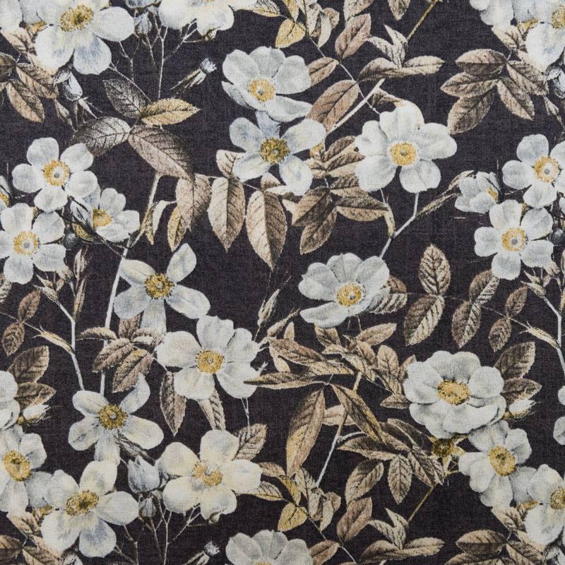 toile polycoton grande largeur marron motif fleur blanche. Black Bedroom Furniture Sets. Home Design Ideas