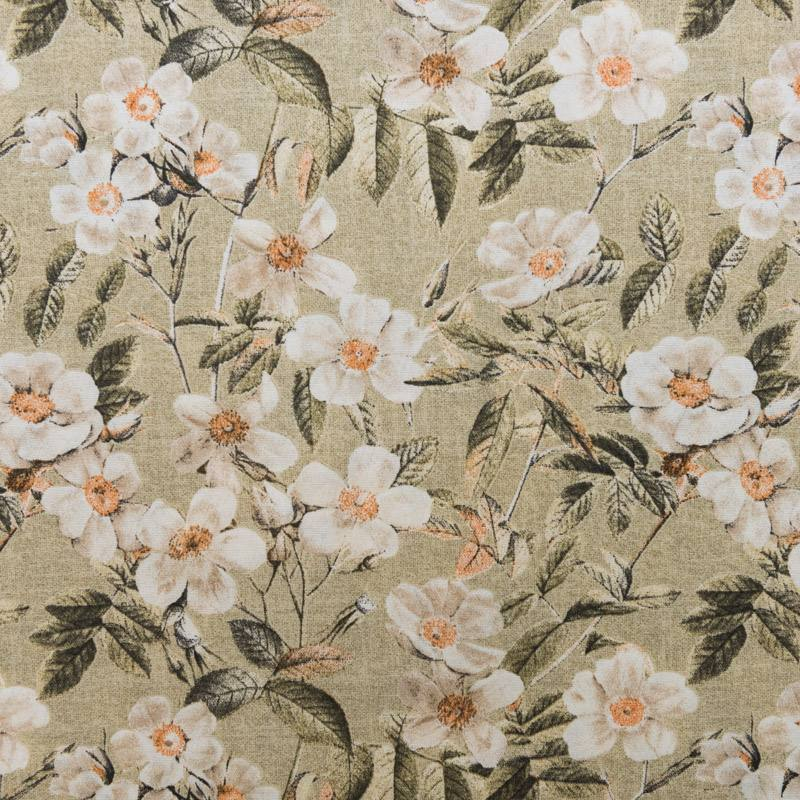 toile polycoton grande largeur beige motif fleur blanche. Black Bedroom Furniture Sets. Home Design Ideas