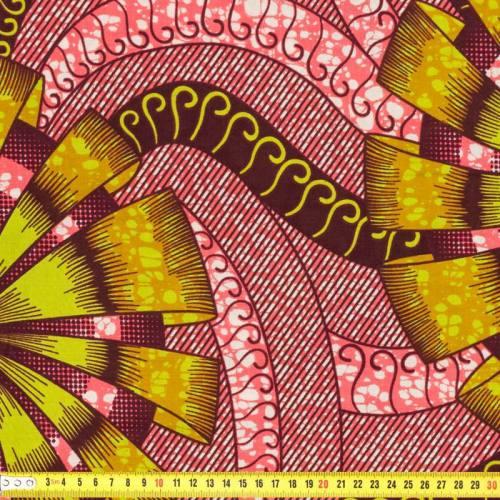 Wax - Tissu africain rose et vert 193