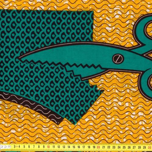 Wax - Tissu africain ciseaux jaune et vert 195