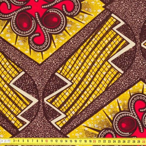 Wax - Tissu africain arabesque rouge 208