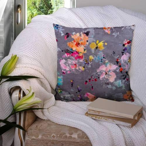 Coton impression numérique gris motif fleur peinte