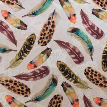 Coton impression numérique beige motif plume