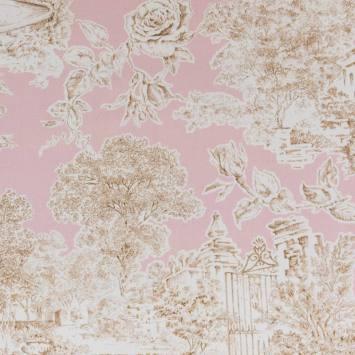 Coton impression numérique rose motif champêtre