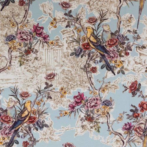 Coton impression numérique bleu motif champêtre et perruche