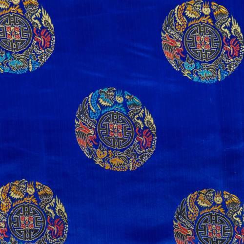 Satin asiatique bleu motif rond coloré