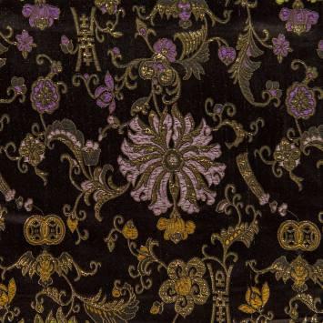 Satin asiatique noir motif fleur dorée