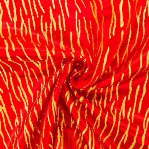 Satin asiatique rouge motif zébrure dorée