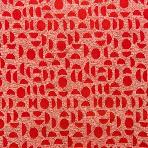 Satin asiatique rouge motif rond semi rigide