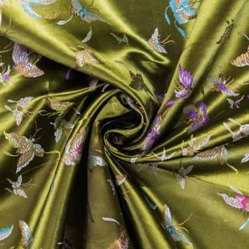 Satin asiatique vert motif papillon