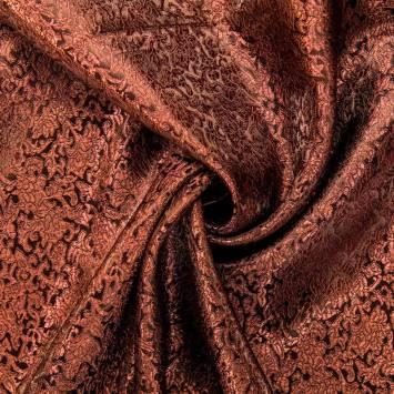 Satin asiatique noir motif arabesque rouge brun